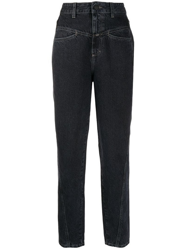 Closed high-waisted tapered jeans in grey