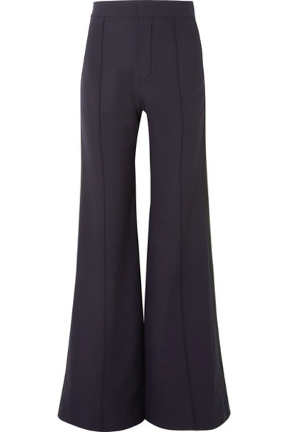 Chloé Chloé - Satin-trimmed Stretch-wool Wide-leg Pants - Navy