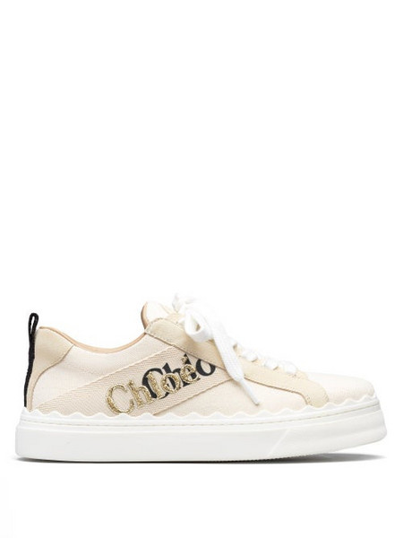 Chloé Chloé - Lauren Logo-embroidered Canvas Trainers - Womens - White