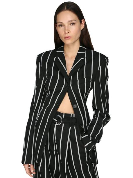 PROENZA SCHOULER Striped Wool Twill Blazer in black / white