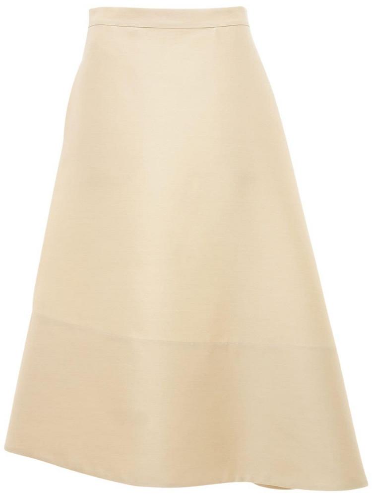 JIL SANDER Asymmetric Wool & Silk Flared Skirt in beige