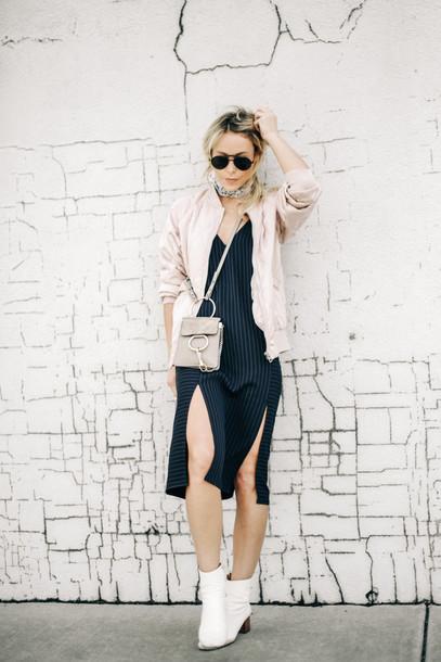 happily grey blogger blue dress slit dress mini bag boots booties