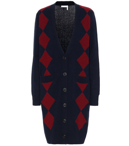 See By Chloé Wool and cotton-blend cardigan in blue