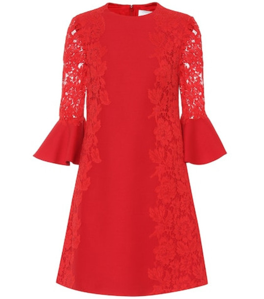 Valentino Lace-trimmed cotton-blend minidress in red