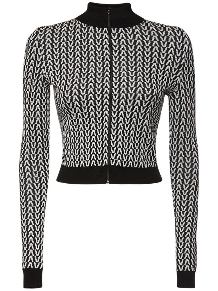 VALENTINO Jacquard Wool Knit Sweatshirt in black / ivory