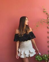 skirt,white skirt,polka dots,ruffle,mini skirt,black top,lace top