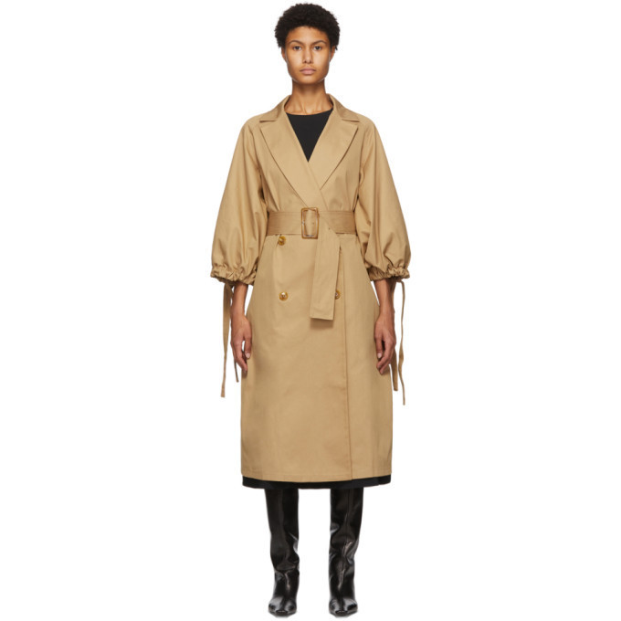 Edit Beige Pleated Trench Coat in camel