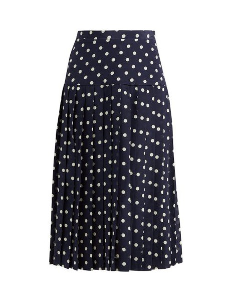 Alessandra Rich - Pleated Polka Dot Silk Midi Skirt - Womens - Navy White