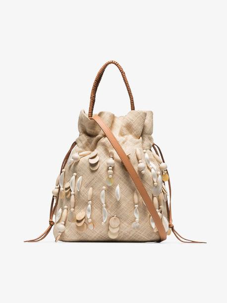 Aranáz neutral Oona raffia sequin bag