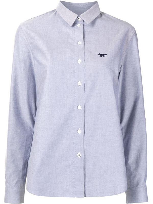 Maison Kitsuné black fox embroidered shirt in grey
