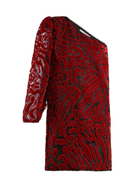 Givenchy - Asymmetric Velvet Devoré Mini Dress - Womens - Red