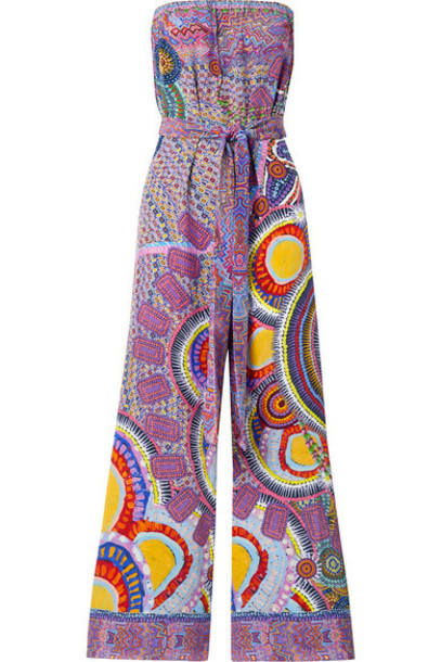 Camilla - Strapless Belted Crystal-embellished Printed Silk-crepe Jumpsuit - Multi