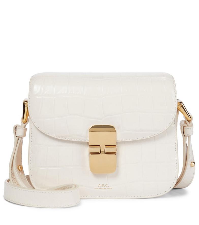 A.P.C. Grace Mini croc-effect leather shoulder bag in white