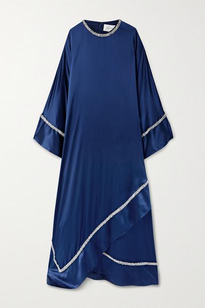 SEMSEM - Crystal-embellished Charmeuse Kaftan - Blue