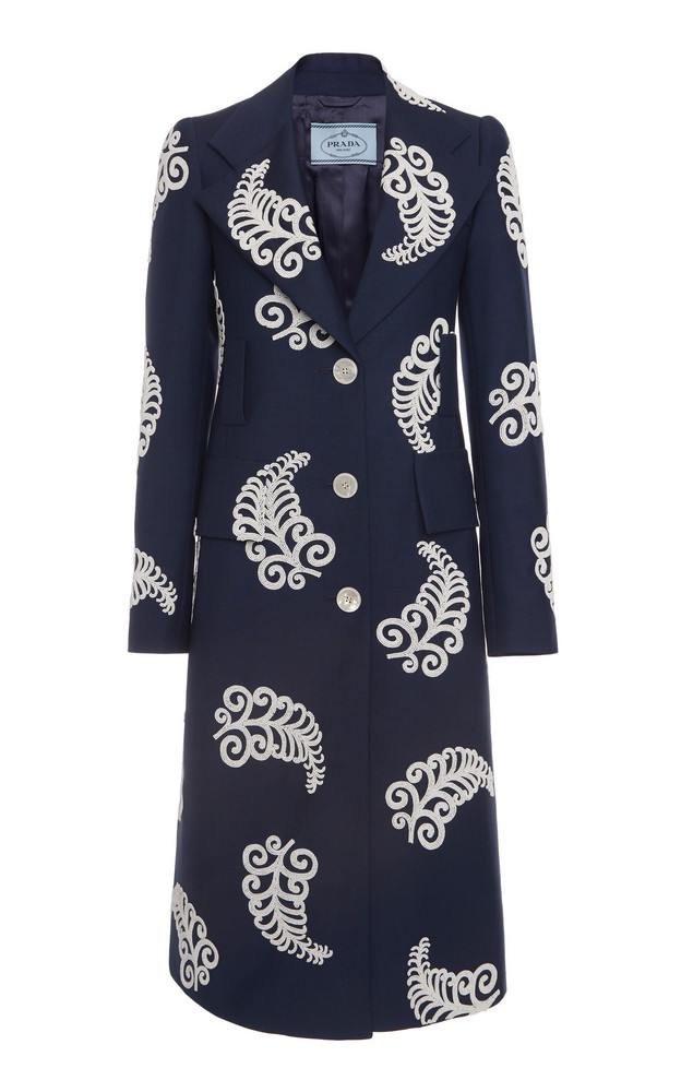 Prada Embellished Mohair Wool Coat Size: 36 in navy