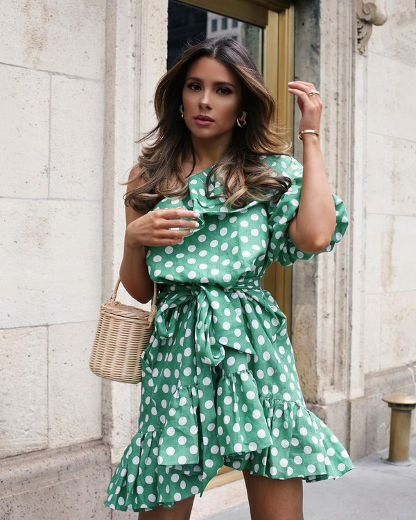 dress one shoulder mini dress polka dots bucket bag handbag
