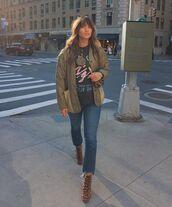 jacket,army green jacket,ankle boots,leopard print,cropped jeans,sweatshirt,crossbody bag
