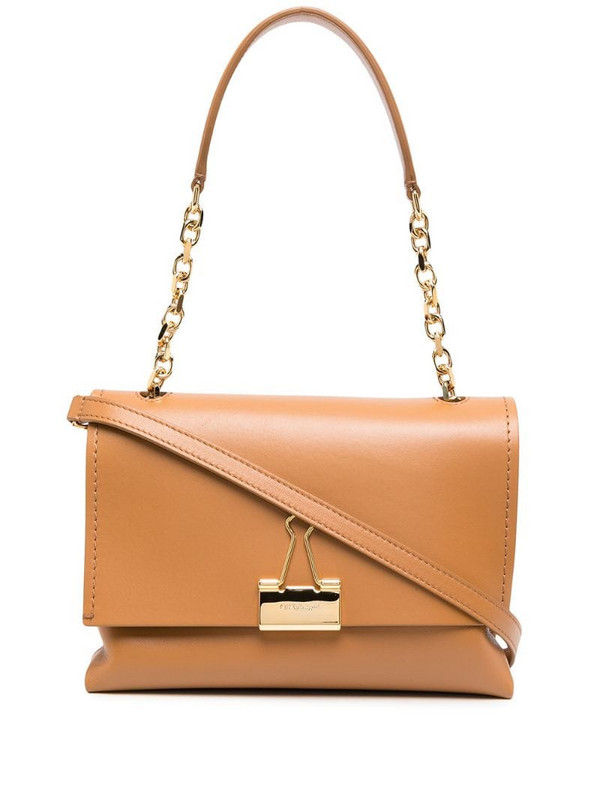 Off-White Binder clip shoulder bag in brown