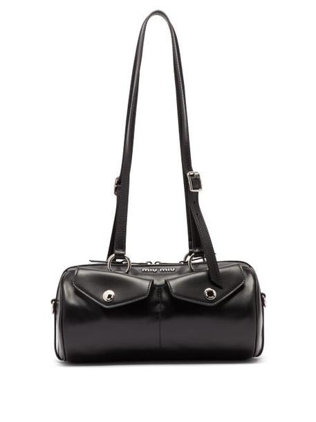 Miu Miu - Flap Pocket Leather Bowling Bag - Womens - Black