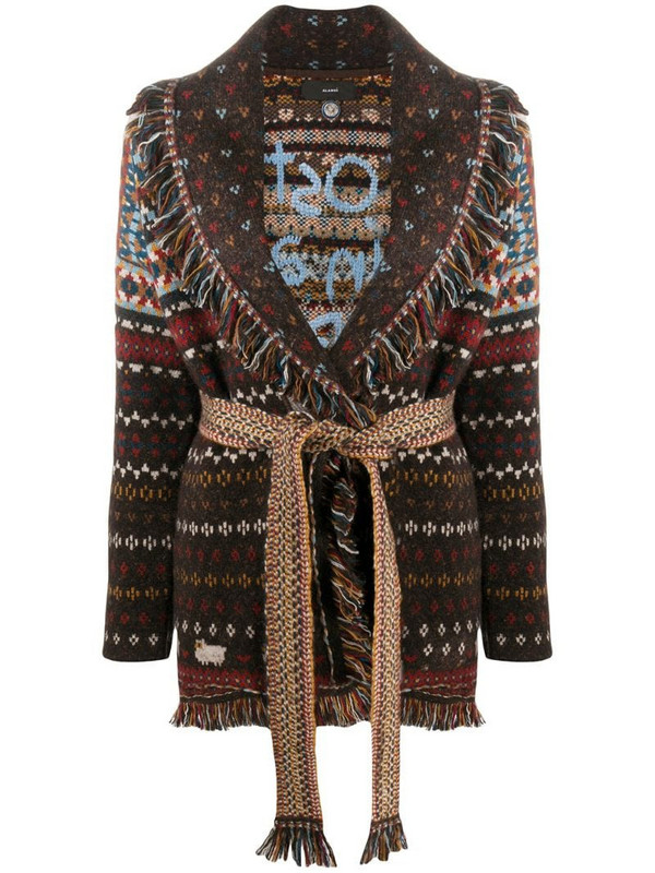 Alanui patterned intarsia-knit cardigan in brown