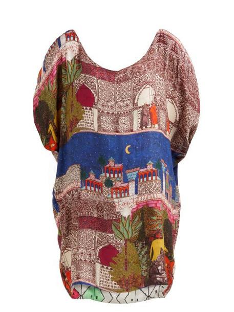 Chufy - Reversible Camel Print Jacquard Tunic Dress - Womens - Blue Multi