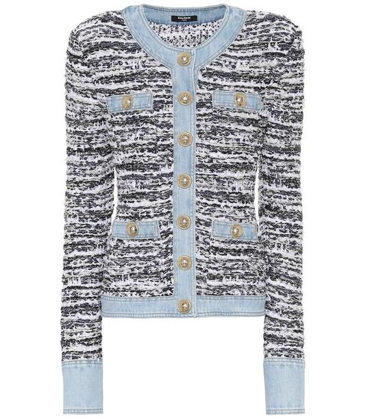Balmain Tweed cardigan in blue