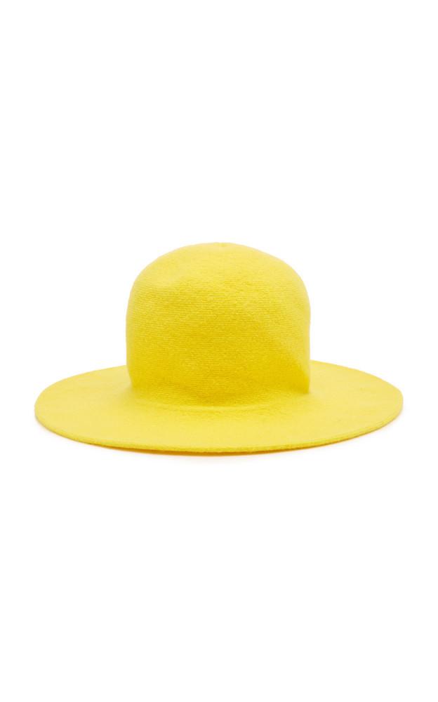 Federica Moretti Felt Sun Hat in yellow