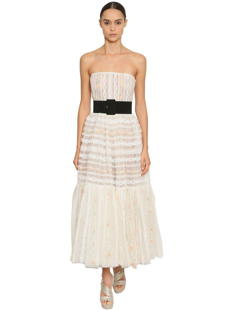 INGIE PARIS Off The Shoulder Tulle & Lace Dress in white