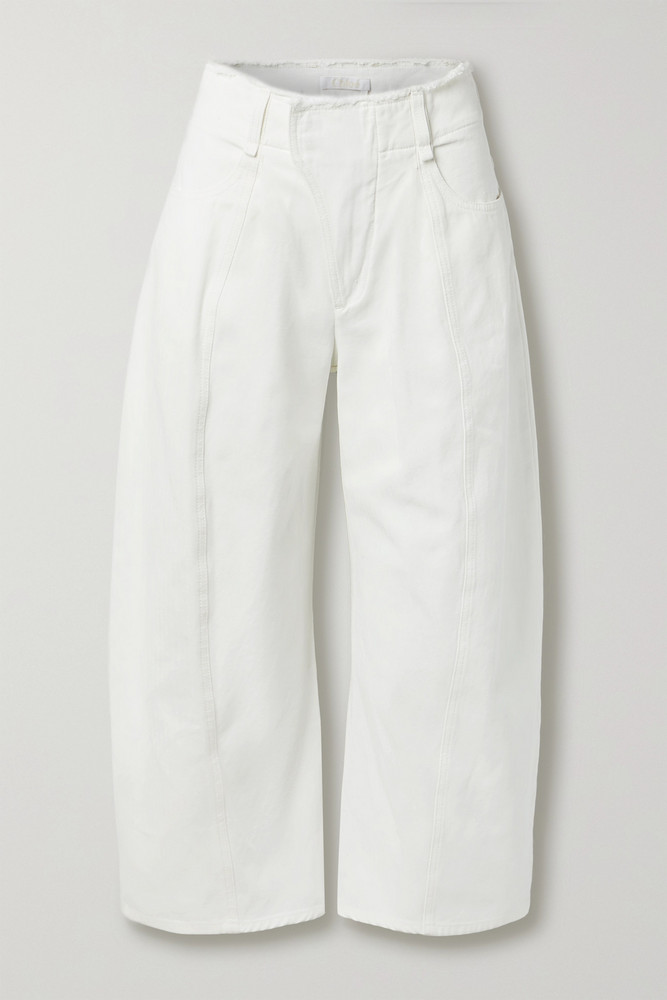 CHLOÉ CHLOÉ - Frayed High-rise Wide-leg Jeans - White
