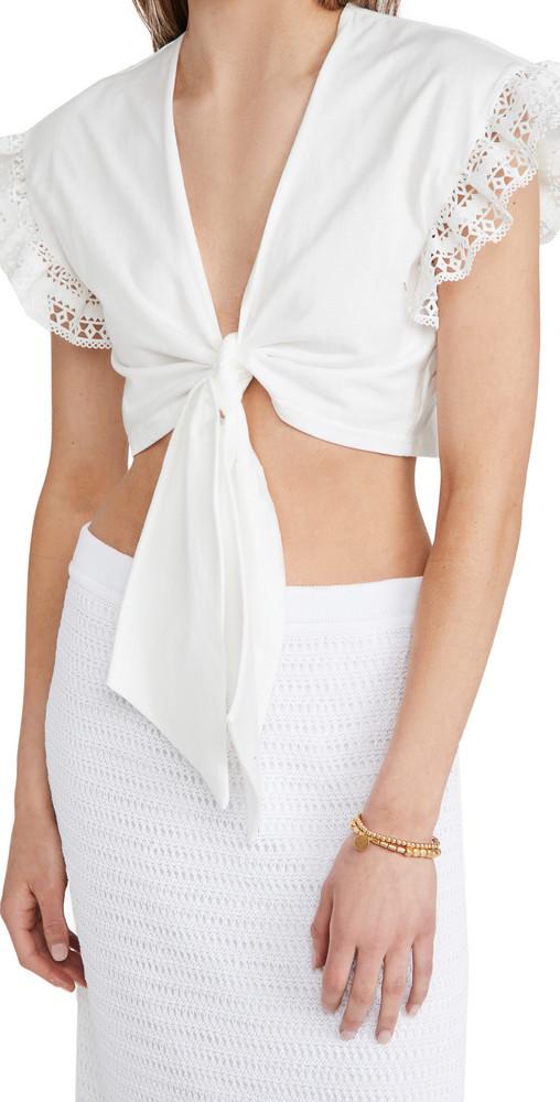 AMUR Vega Tie Front Top in white