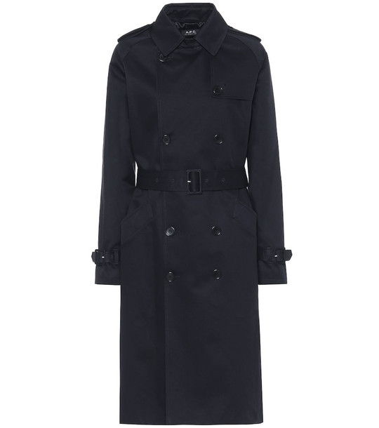 A.P.C. Greta cotton-gabardine trench coat in blue