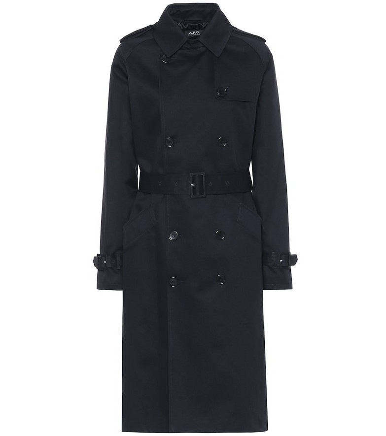 A.P.C. Greta cotton-gabardine trench coat in blue