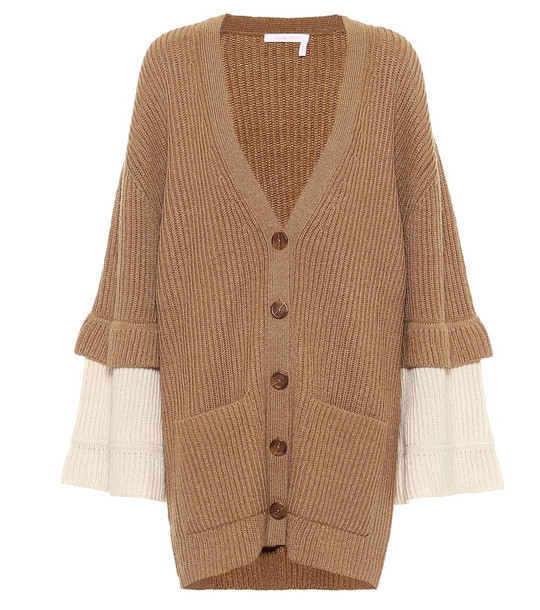 See By Chloé Ribbed-knit wool-blend cardigan in beige