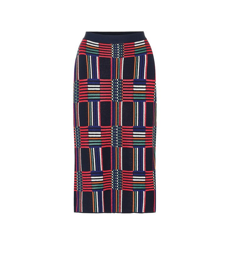 Tory Sport Checked jacquard pencil skirt in blue