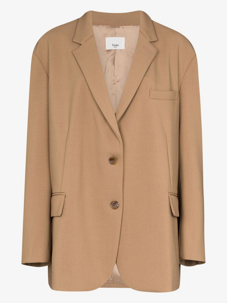 THE FRANKIE SHOP Bea single-breasted boxy blazer in brown