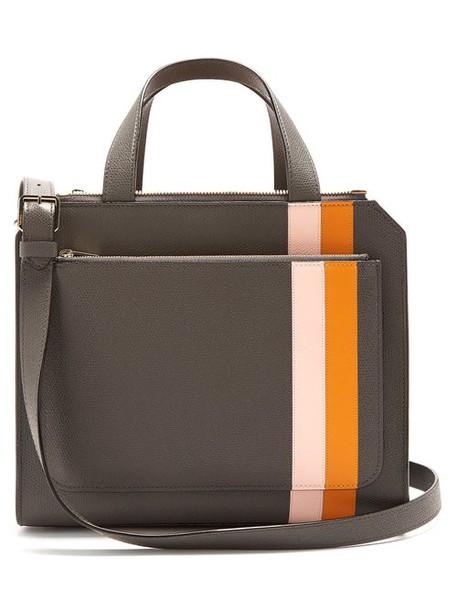 Valextra - Passepartout Medium Striped Leather Bag - Womens - Grey Multi