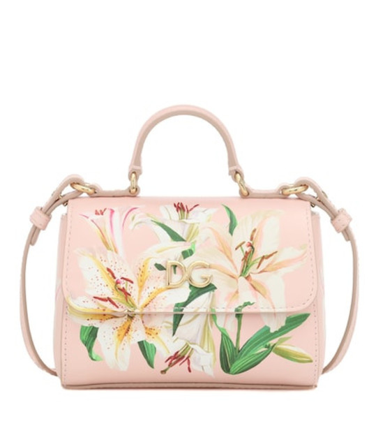 Dolce & Gabbana Kids Floral leather shoulder bag in pink