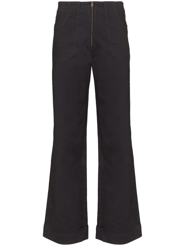 USISI SISTER Isabella high-waisted flare jeans in black