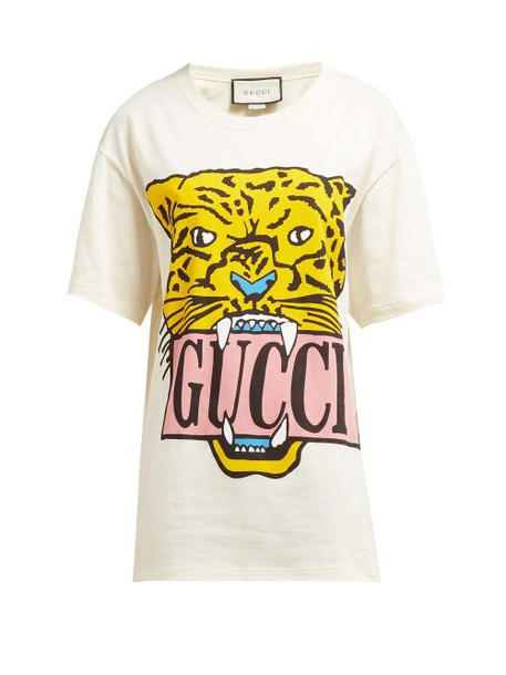 Gucci - Tiger Motif Printed Cotton T Shirt - Womens - Ivory Multi