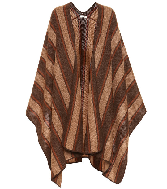 The Row Merlyn cashmere and silk cape in brown