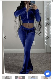 tights,royal blue velour set