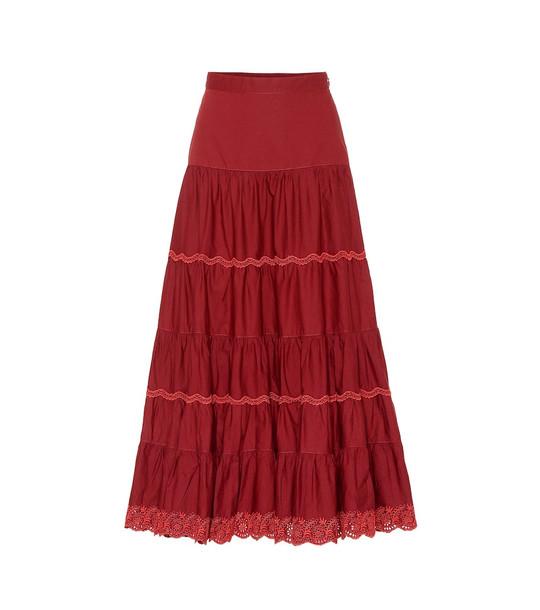 Ulla Johnson Fleet cotton maxi skirt in red