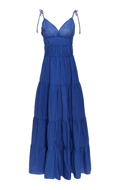 Marques Almeida Tiered Ruched Cotton-Poplin Maxi Dress Size: L in blue