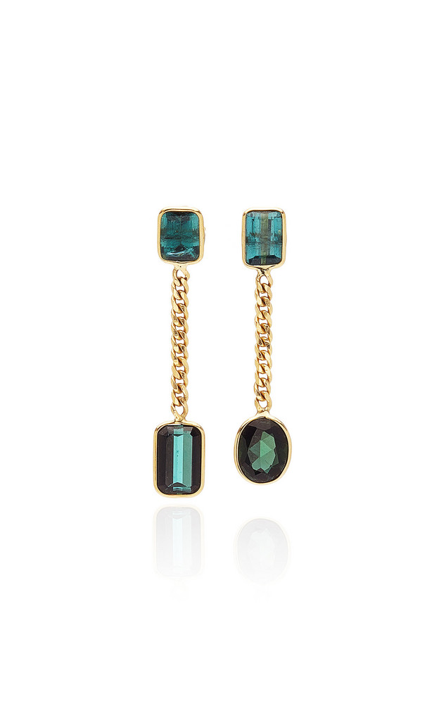 Objet-a Curb 18K Gold And Tourmaline Earrings in multi