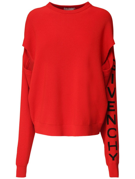 GIVENCHY Over Knit Wool Blend Sweater W/ Logo in black / red