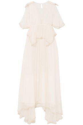 Chloé Woman Cape-effect Silk-gauze Peplum Maxi Dress Off-white Size 38