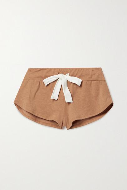 EBERJEY - Heather Cotton-blend Jersey Shorts - Brown