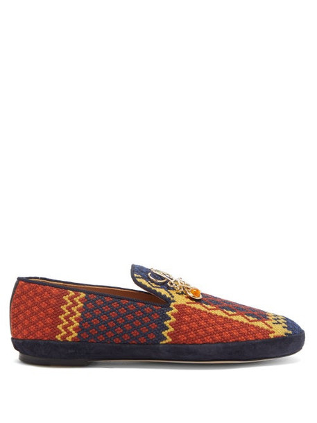 Loewe - Anagram-plaque Embroidered Slippers - Womens - Multi