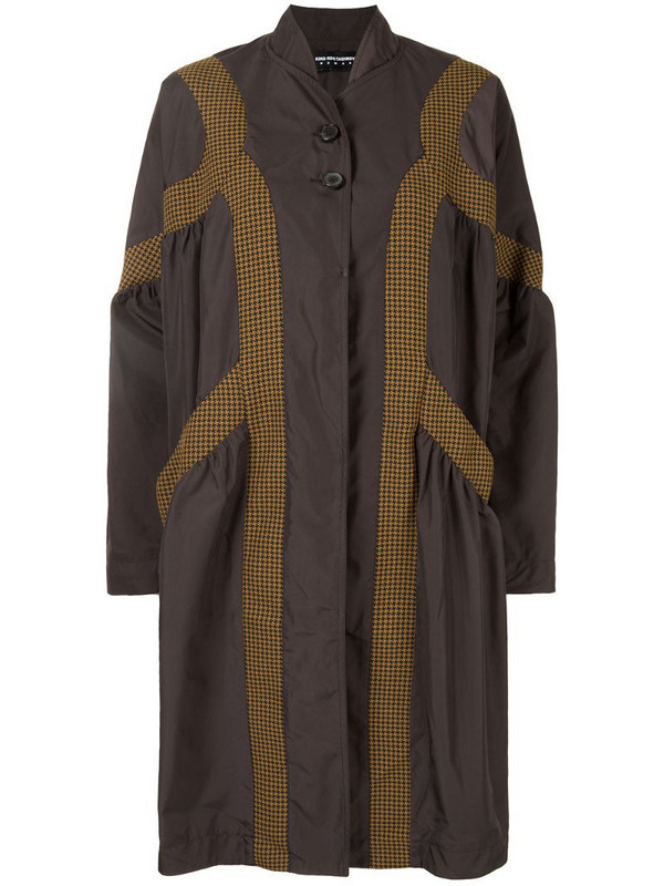 Kiko Kostadinov houndstooth panel coat in brown