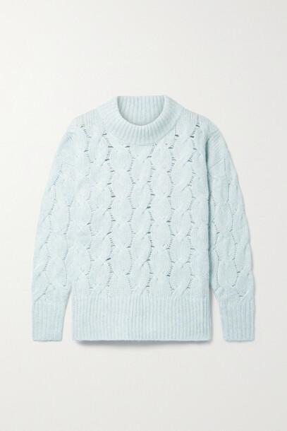 APIECE APART - La Vid Cable-knit Cashmere And Silk-blend Sweater - Blue